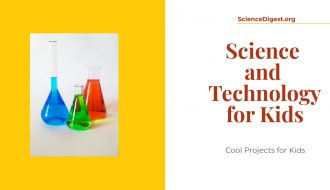 Science and technology for kids is displayed against a white background. A kids science kit is also visible.